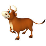 Cute Bull funny cartoon character. 3d rendered illustration of Bull funny cartoon character Royalty Free Stock Images