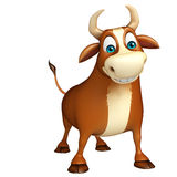 Cute Bull funny cartoon character. 3d rendered illustration of Bull funny cartoon character Stock Image