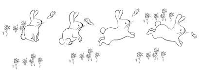 Cute bunnies. A illustration of bunnies graphic Royalty Free Stock Photos