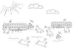 Cute bunnies. A illustration of bunny land image Stock Photos