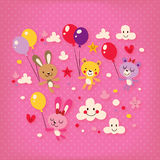 Cute bunnies and bears Royalty Free Stock Photo