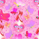 Cute Bunnies and butterflies Seamless pattern  Royalty Free Stock Images