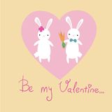 Cute bunnies card Stock Photography