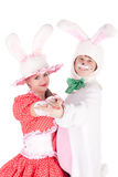 Cute bunnies dancing Stock Image