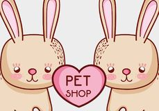 Cute bunnies doodle cartoons. Vector illustration graphic design stock illustration