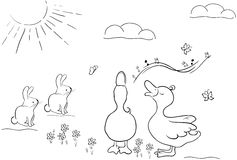 Cute bunnies and ducks. A illustration of bunny and ducks having fun Stock Photography