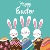 cute bunnies with egg ornament happy easter Stock Photos