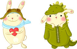 Cute bunnies in fancy dress. Stock Image