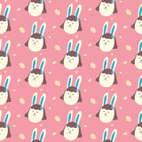 Cute bunnies girls. Seamless pattern Vector Royalty Free Stock Photos