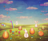 Cute bunnies  on a hill surrounded by easter eggs. Illustration art Stock Photos