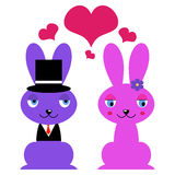Cute bunnies in love Royalty Free Stock Image
