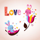 Cute bunnies in love Valentine's day retro card Stock Photo