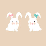Cute bunnies with pink and blue bow, illustration set for baby fashion Royalty Free Stock Image