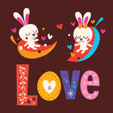 Cute bunnies word Love retro typography lettering text design Stock Photography