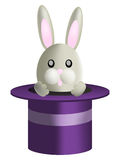 Cute bunny. Rabbit in a magician's hat royalty free illustration