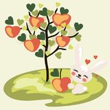 Cute Bunny with an Apple near the Apple tree. Cute Bunny sitting on a tree in the garden and holding an Apple in his paws vector illustration