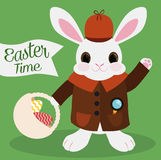Cute Bunny as Detective for Easter Hunt, Vector Illustration Stock Images