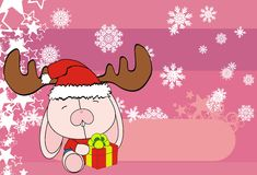Cute bunny baby xmas cartoon background Royalty Free Stock Photography