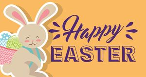 Cute bunny with basket on his back with eggs happy easter banner horizontal Royalty Free Stock Photos