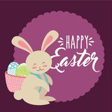 Cute bunny with basket on his back with eggs happy easter label Royalty Free Stock Images
