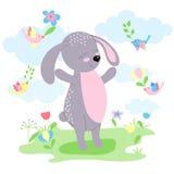 Cute Bunny and birds fly happy. Stock Photo