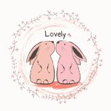 Cute bunny and butterfly. royalty free illustration