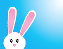 Cute bunny. Card easter day on blue background Stock Photography