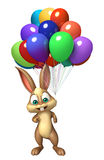 Cute Bunny cartoon character with balloons. 3d rendered illustration of Bunny cartoon character with balloons Stock Image