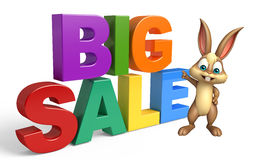 Cute Bunny cartoon character with big sale Stock Photo