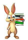 Cute Bunny cartoon character with book stack Stock Photo