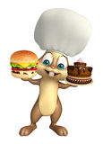 Cute Bunny cartoon character with burger , cake and chef hat. 3d rendered illustration of Bunny cartoon character with burger , cake and chef hat Royalty Free Stock Images
