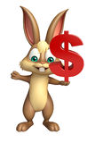 Cute Bunny cartoon character with doller sign Royalty Free Stock Images