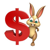 Cute Bunny cartoon character with doller sign Royalty Free Stock Photos