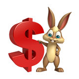 Cute Bunny cartoon character with doller sign Stock Photography
