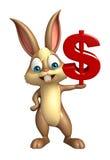 Cute Bunny cartoon character with doller sign Stock Photos