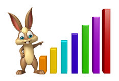 Cute Bunny cartoon character with graph Royalty Free Stock Images