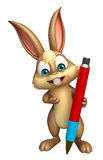 Cute Bunny cartoon character with pen Stock Photography