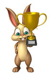 Cute Bunny cartoon character with winning cup Stock Photos
