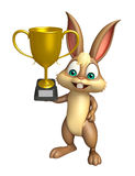 Cute Bunny cartoon character with winning cup Stock Image
