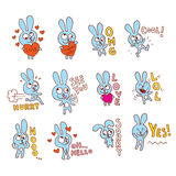 Cute bunny character Stock Images