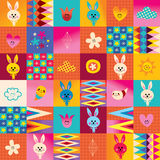 Cute bunny characters seamless pattern Royalty Free Stock Images
