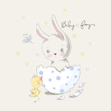 Cute bunny and chick with baby boy slogan. Vector baby illustration with pets for fashion apparels, t shirt, greeting card and printed tee design vector illustration
