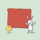 Cute bunny with chick for Happy Easter celebration. Royalty Free Stock Image