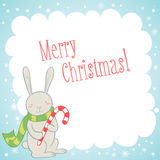 Cute bunny Christmas greeting card Stock Images