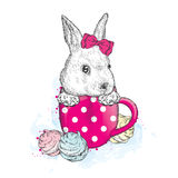 Cute bunny in a cup. Cup and marshmallows. Stock Photo