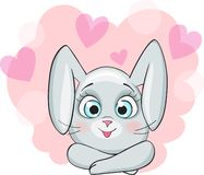 Cute bunny for design Happy Valentine`s day. On romantic background stock illustration