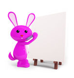 Cute Bunny with easel board. 3d Bunny with easel board Royalty Free Stock Image