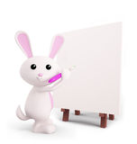 Cute Bunny with easel board. 3d Bunny with easel board Stock Image