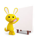 Cute Bunny with easel board. 3d Bunny with easel board Royalty Free Stock Photography