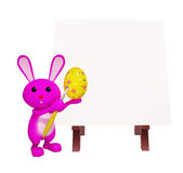 Cute Bunny with easel board. 3d Bunny with easel board Stock Photo